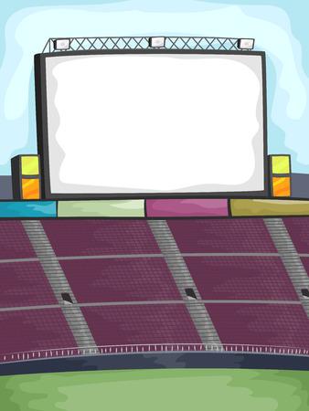 gradas estadio: Antecedentes Ilustración de una gran pantalla en la esquina de un estadio al aire libre