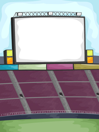 bleachers: Background Illustration of a big screen in the Corner of an Outdoor Stadium
