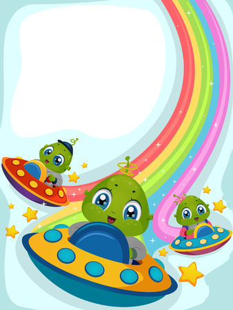 rainbow scene: Illustration of Aliens Driving Spaceships Leaving Rainbow Trails Stock Photo