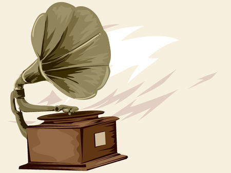 gramophone: Vintage Styled Illustration of a Gramophone Spinning a Record