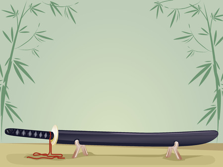 feudal: Background Illustration of a Japanese Sword Resting on a Stand Stock Photo
