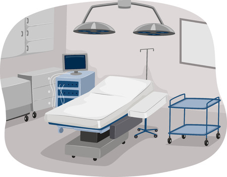 tables: Illustration of an Operating Room Complete with Operating Table and Surgical Equipment
