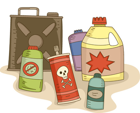 Illustration of a Variety of Pesticides in Different Containers Stock Photo