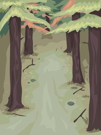 populated: Background Illustration of a Woody Area Populated by Pine Trees Stock Photo
