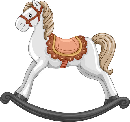 rocking horse: Illustration of a Cute Rocking Horse in Mid-Swing Stock Photo