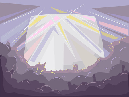 strobe lights: Background Illustration of the Silhouettes of the Audience of a Rock Concert