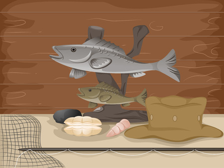 taxidermy: Illustration of a Stuffed Fish Mounted Above Fishing Gear