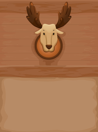 taxidermy: Background Illustration of a Stuffed Moose Mounted on a Wall Stock Photo
