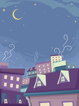 whimsical: Whimsical Background Illustration of Houses Under the Night Sky