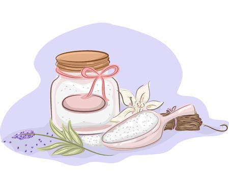 pamper: Illustration of a Jar of Homemade Bath Salt and Ingredients for Essential Oils