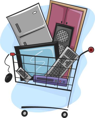 Illustration of a Shopping Cart Full of Home Appliances Banco de Imagens
