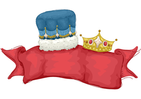 homecoming: Illustration of a Banner Decorated with a Male and Female Crown