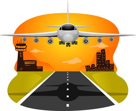 aeronautics: Illustration of a Commercial Airplane Preparing to Land Stock Photo