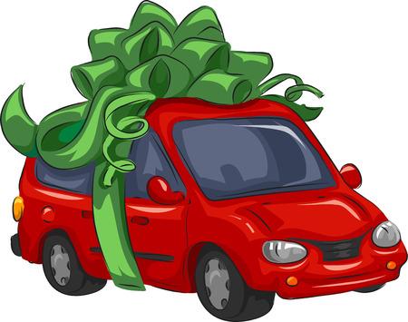 minivan: Illustration of a Mini-Van Wrapped as a Present Stock Photo