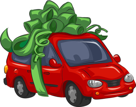 Illustration of a Mini-Van Wrapped as a Present Stock Photo