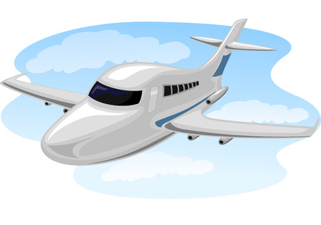 cruising: Illustration of a Chartered Plane Cruising Through the Sky Stock Photo