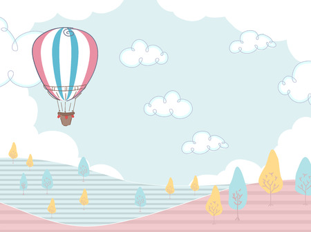 hovering: Illustration of a Hot Air Balloon Hovering Over a Field