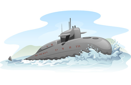 submerged: Illustration of a Submarine Partially Submerged