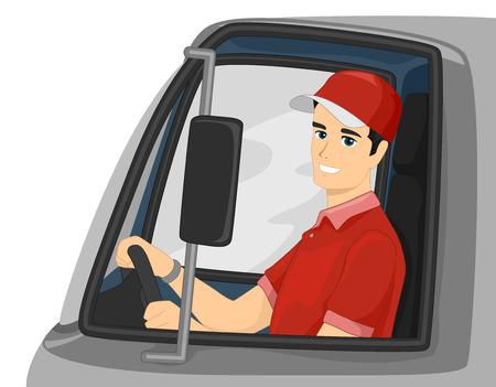ciężarówka: Ilustracja Mężczyzna prowadzenie samochodu dostawczego