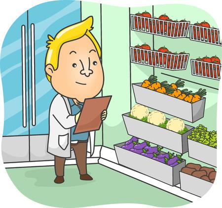Illustratie van een Sanitation inspecteur onderzoekt de producten in een supermarkt