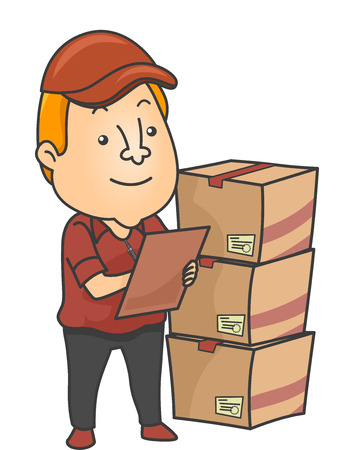 Illustration of an Inventory Checker Checking Deliveries Banco de Imagens