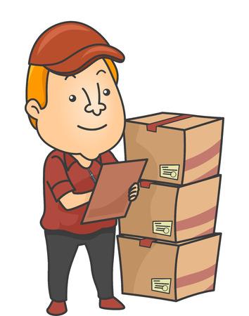 inventario: Ilustración de un verificador de Inventario Las entregas de cheques
