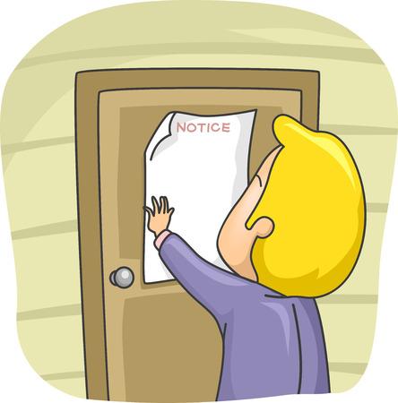 posting: Ilustraci�n de un hombre poniendo un aviso en la puerta de su casa