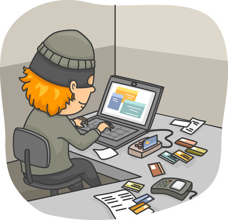 cloning: Illustration of an Online Thief Cloning Credit Cards