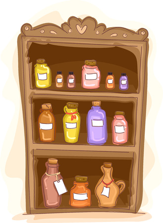 wooden shelf: Illustration of a Wooden Shelf Filled with Essential Oils