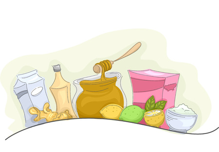 remedies: Illustration of a Group of Common Homemade Remedies Stock Photo