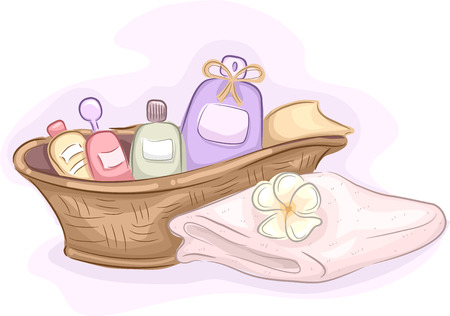 pampering: Illustration of Basket Filled with Different Products Used for Massages