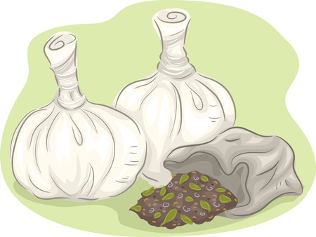 unopened: Illustration of a Group of Open and Unopened Poultice