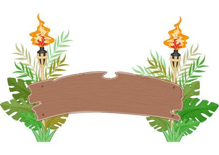 torches: Jungle Wood BannerIllustration of a Banner Decorated with Torches and Large Leaves