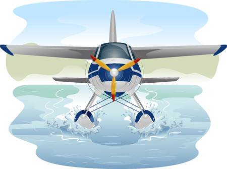 Illustration of a Seaplane Cruising Through Water