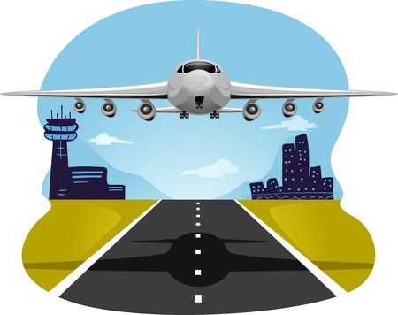 airfield: Illustration of an Airplane Taking Off from the Runway