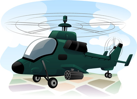 assault: Illustration of an Assault Helicopter in the Middle of a Reconnaissance Mission Stock Photo