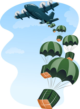 humanitarian aid: Illustration of a Cargo Plane Air Dropping Supplies