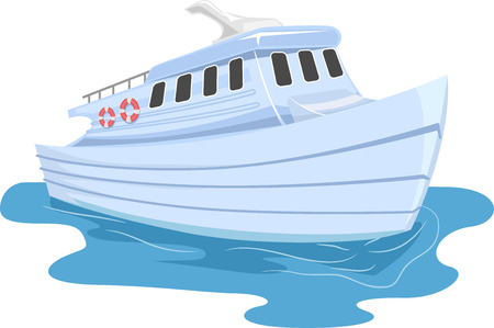 ferries: Illustration of a Small Ferry Cruising Through Water