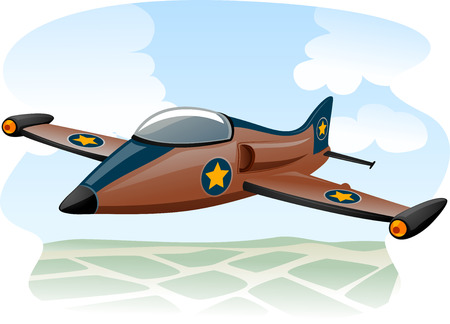 jet fighter: Illustration of a Jet Fighter Flying Over the Ocean