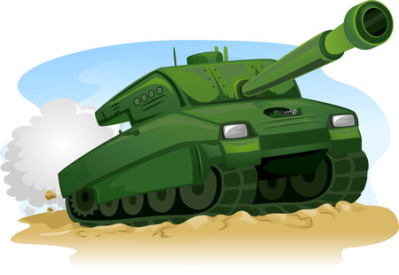 military tank: Illustration of a Military Tank Treading on Rough Terrain