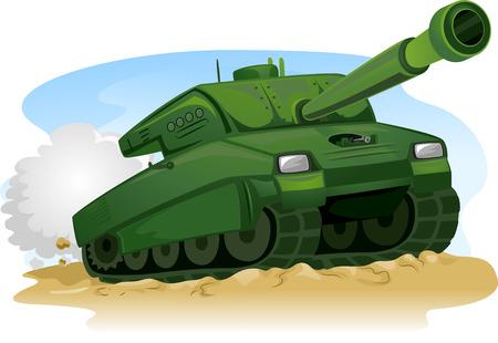 army tank: Illustration of a Military Tank Treading on Rough Terrain