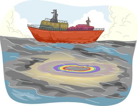 oil spill: Illustrazione di grandi pool di Oil Spill individuato vicino una nave da carico