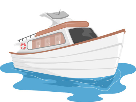 cruising: Illustration of a Private Yacht Cruising Through Water Stock Photo