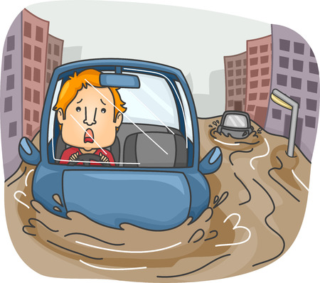 rains: Illustration of a Panicking Man Caught in the Middle of a Flash Flood Stock Photo