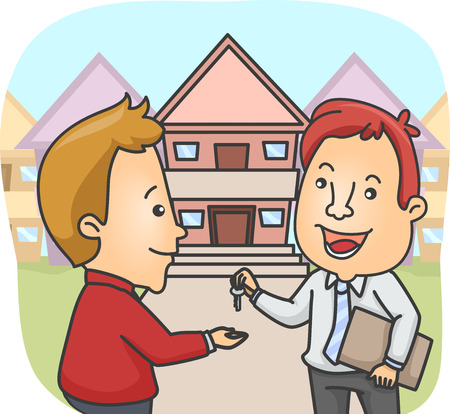 land owner: Illustration of a Real Estate Agent Handing Over the House Key to the New Owner