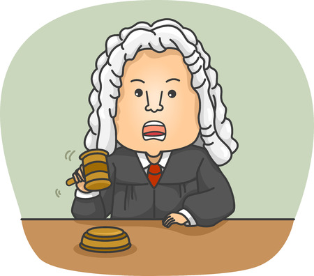 judges: Illustration of an Angry Judge Wearing Traditional Clothing Stock Photo