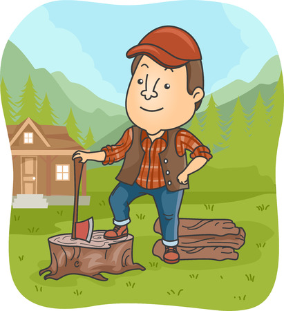 laborer: Illustration of a Lumber Jack Holding an Axe Standing on a Tree Stump