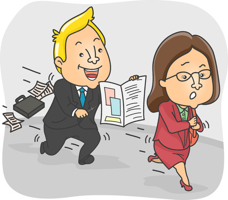 persistent: Illustration of a Persistent Insurance Agent Chasing After a Woman