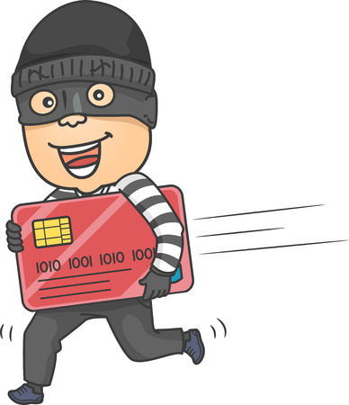 fraudster: Illustration of a Thief Running While Carrying a Large Credit Card