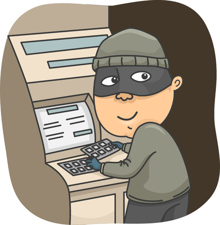 scammer: Illustration of a Thief Installing a Card Skimmer on an ATM